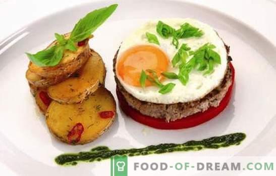 Beefsteak mit Ei: 2 in 1! Rezepte verschiedener Steaks mit Eiern aus Rindfleisch, Schweinefleisch, Huhn, Reis, Zuckerrüben, auf Französisch