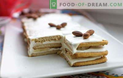 Kuchen ohne Backen von Keksen und Sauerrahm in 15 Minuten! Kuchenrezepte ohne Backen von Keksen und Sauerrahm mit Schokolade, Bananen, Nüssen