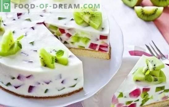 Kuchen mit Gelee und Früchten: ein buntes Dessert zum Tee! Kuchenvariationen mit Gelee und Früchten, Beeren, Hüttenkäse und Keksen