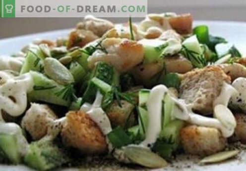 Salat mit Kirieshkami - bewährte Rezepte. Wie man richtig und schmackhaft gekochten Salat mit Kirieshkami isst.