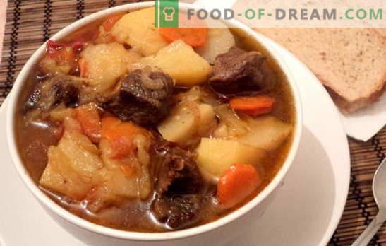 Eintopf mit Kartoffeln und Fleisch ist zufriedenstellend und gesund. Verschiedene Rezepte zum Kochen von Eintöpfen mit Kartoffeln und Fleisch: einfach und komplex