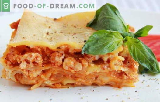 Chicken Lasagna - die besten Rezepte. Wie man richtig und lecker Lasagne mit Hähnchen kochen.