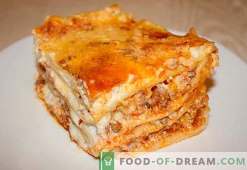 Lasagne mit Hackfleisch - die richtigen Rezepte. Wie man schnell und lecker Lasagne mit Hackfleisch kochen.