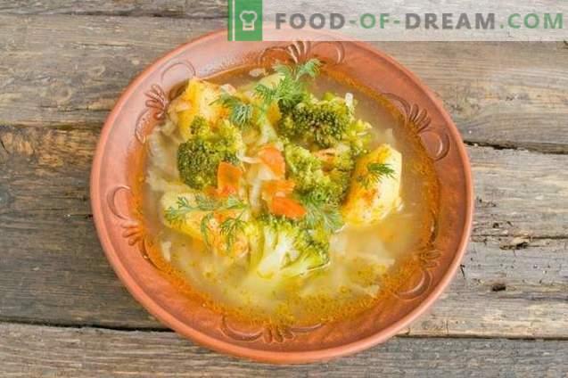 Leckere magere Suppe mit Kartoffeln und Broccoli