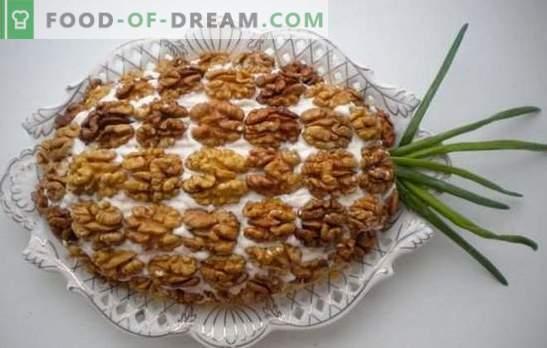 Hähnchen-, Ananas- und Walnusssalat - königlicher Geschmack! Interessante Ideen zum Kochen von Salaten mit Hähnchen, Ananas und Walnüssen