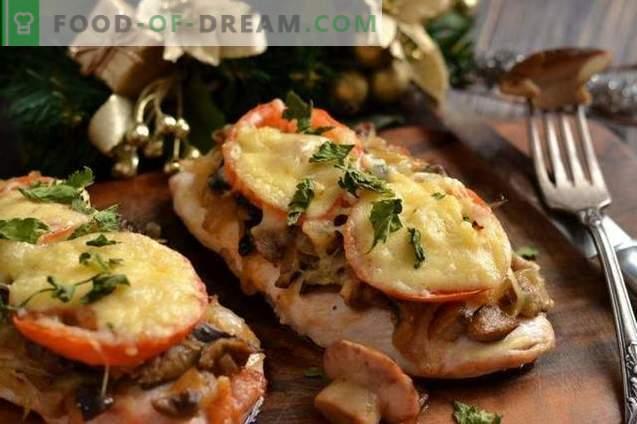 Hähnchenbrustkoteletts mit Käse und Tomaten
