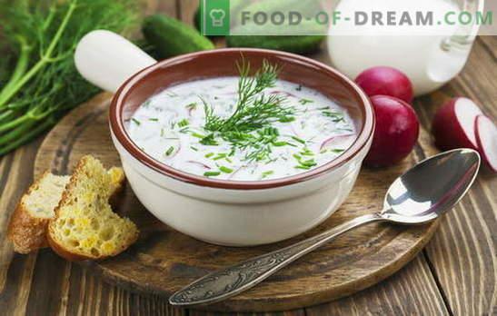 Okroshka, Rote-Bete-Suppe und andere Suppen auf Kefir, Gemüse und Fleisch. Italienische, Spanische und Russische Rezepte für Suppen auf Kefir