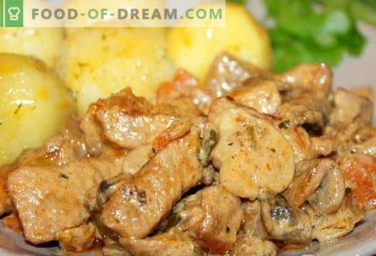 Schweinefleisch mit Pilzen - die besten Rezepte. Wie man Schweinefleisch mit Pilzen richtig und lecker kocht.
