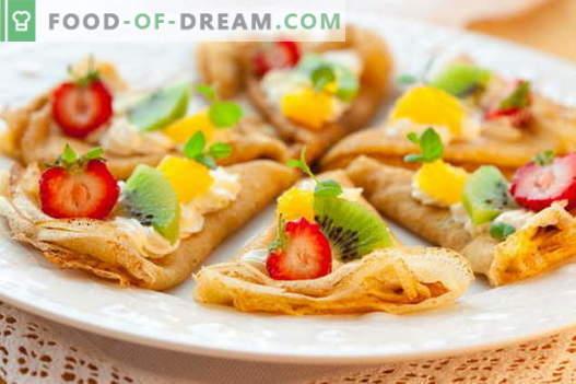 Dünne Pfannkuchen - bewährte Rezepte. Wie man richtig und lecker dünne Pfannkuchen kocht.