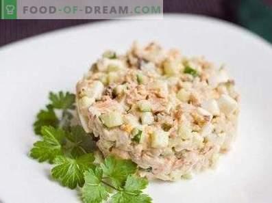 Salate mit rosa Lachs in Dosen