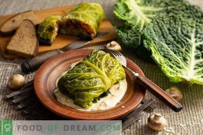 Vegetarian steamed cabbage rolls from savoy cabbage