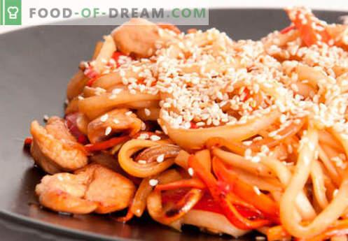 Udonnudeln sind die besten Rezepte. Wie man richtig und lecker Udon-Nudeln zu Hause kocht.